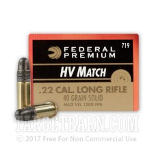 Federal Gold Medal High Velocity Match 22 LR Ammunition - 50 Rounds of 40 Grain Solid Point