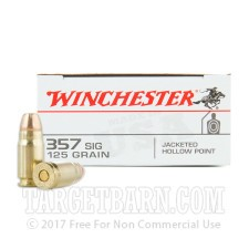 Winchester 357 Sig Ammunition - 500 Rounds of 125 Grain JHP