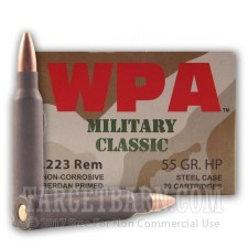 Wolf WPA Military Classic 223 Remington Ammunition - 500 Rounds of 55 Grain HP