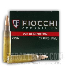 Fiocchi 223 Remington Ammunition - 50 Rounds of 55 Grain FMJ