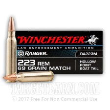 Winchester Ranger 223 Rem Ammunition - 20 Rounds of 69 grain HP-BT Match