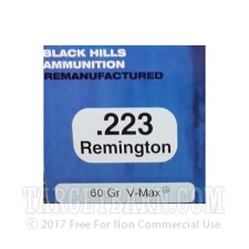 Black Hills Remanufactured 223 Remington Ammunition - 50 Rounds of 60 Grain V-Max