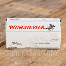 Winchester 40 S&W Ammunition - 50 Rounds of 180 Grain FMJ