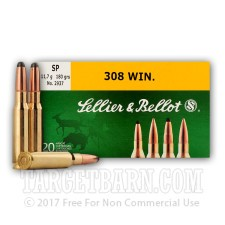 Sellier & Bellot 308 Winchester Ammunition - 20 Rounds of 180 Grain SP