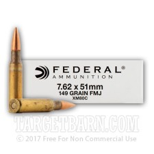 Federal 7.62 NATO Ammunition - 20 Rounds of 149 Grain FMJ