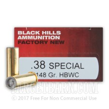 Black Hills 38 Special Ammunition - 50 Rounds of 148 Grain HBWC