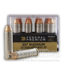 Federal Personal Defense 357 Magnum Ammunition - 20 Rounds of 130 Grain Hydra-Shok JHP