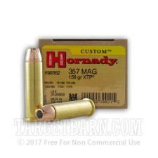 Hornady Custom 357 Magnum Ammunition - 25 Rounds of 158 Grain XTP