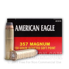 Federal American Eagle 357 Magnum Ammunition - 50 Rounds of 158 Grain JSP