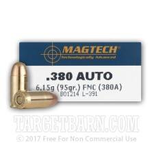 Magtech 380 ACP Ammunition - 50 Rounds of 95 Grain FMJ