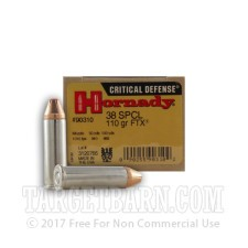 Hornady Critical Defense 38 Special Ammunition - 250 Rounds of 110 Grain FTX