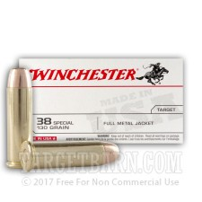 Winchester Target 38 Special Ammunition - 50 Rounds of 130 Grain FMJ