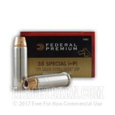 Federal Premium Personal Defense 38 Special Ammunition - 20 Rounds of +P 129 Grain Hydra-Shok JHP