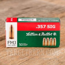 Sellier & Bellot 357 SIG Ammunition - 50 Rounds of 140 Grain FMJ
