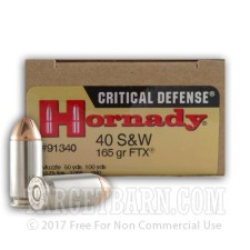 Hornady Critical Defense 40 S&W Ammunition - 20 Rounds of 165 Grain FTX