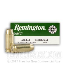 Remington UMC 40 S&W Ammunition - 50 Rounds of 180 Grain MC