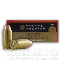 Federal Gold Medal 45 ACP Ammunition - 50 Rounds of 185 Grain FMJ Semi-Wadcutter