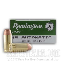 Remington UMC 45 ACP Ammunition - 500 Rounds of 185 Grain MC
