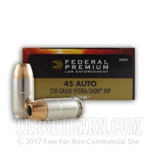 Federal Premium Law Enforcement 45 ACP Ammunition - 50 Rounds of 230 Grain Hydra-Shok JHP