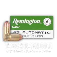 Remington UMC 45 ACP Ammunition - 50 Rounds of 230 Grain MC