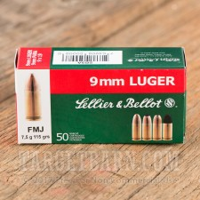 Sellier & Bellot 9mm Luger Ammunition - 1000 Rounds of 115 Grain FMJ