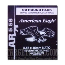 Federal 5.56 NATO Ammunition - 90 Rounds of 55 Grain FMJ