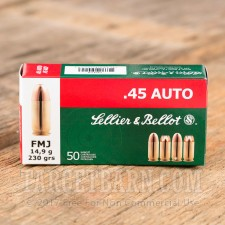 Sellier & Bellot 45 ACP Ammunition - 50 Rounds of 230 Grain FMJ