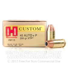 Hornady Custom 45 ACP Ammunition - 200 Rounds of +P 200 Grain XTP JHP