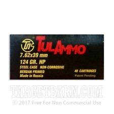 Tula 7.62x39 Ammunition - 40 Rounds of 124 Grain HP