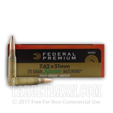Federal Premium Sierra Match King Gold Medal 7.62 NATO Ammunition - 500 Rounds of 175 Grain HP-BT