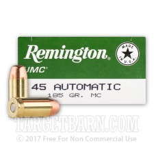 Remington UMC 45 ACP Ammunition - 50 Rounds of 185 Grain MC