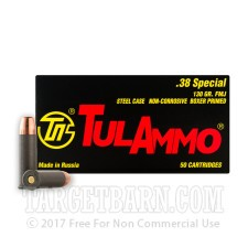 Tula 38 Special Ammunition - 50 Rounds of 130 Grain FMJ