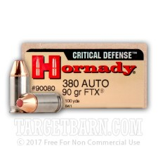 Hornady Critical Defense 380 ACP Ammunition - 25 Rounds of 90 Grain FTX