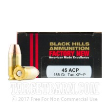 Black Hills 45 ACP Ammunition - 20 Rounds of +P 185 Grain Tac-XP