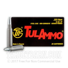 Tula 223 Remington Ammunition - 20 Rounds of 55 Grain HP
