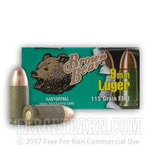 Brown Bear 9mm Luger Ammunition - 500 Rounds of 115 Grain FMJ