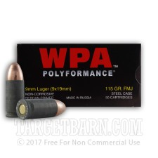 Wolf WPA Polyformance 9mm Luger Ammunition - 500 Rounds of 115 Grain FMJ