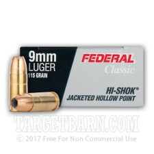 Federal Classic 9mm Luger Ammunition - 1000 Rounds of 115 Grain Hi-Shok JHP