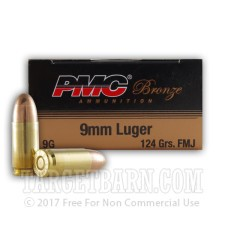 PMC Bronze 9mm Luger Ammunition - 50 Rounds of 124 Grain FMJ