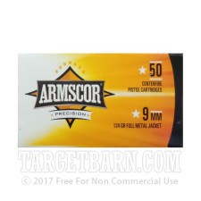Armscor 9mm Luger Ammunition - 1000 Rounds of 115 Grain FMJ