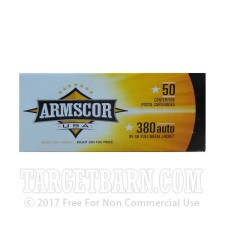 Armscor USA 380 ACP Ammunition - 1000 Rounds of 95 Grain FMJ
