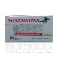 Winchester Target 380 ACP Ammunition - 200 Rounds of 95 Grain FMJ