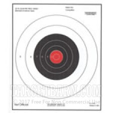 B-16 RC Paper Targets - 25 Yd Slow Fire Pistol - Red - 100 Count