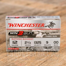 "Winchester Win3Gun 12 Gauge Ammunition - 5 Rounds of 2-3/4"" 00 Buck Shot"