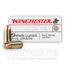 Winchester Target 9mm Luger Ammunition - 50 Rounds of 115 Grain FMJ