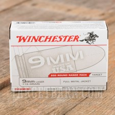 Winchester 9mm Luger Ammunition - 200 Rounds of 115 Grain FMJ