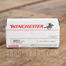 Winchester 380 ACP Ammunition - 50 Rounds of 95 Grain FMJ