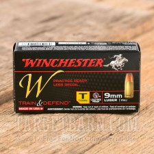Winchester W Train and Defend 9mm Luger Ammunition - 500 Rounds of 147 Grain FMJ
