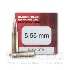 Black Hills 5.56 NATO Ammunition - 50 Rounds of 69 Grain OTM