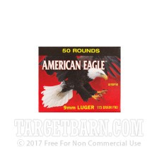 Federal American Eagle (trayless) 9mm Luger Ammunition - 50 Rounds of 115 Grain FMJ